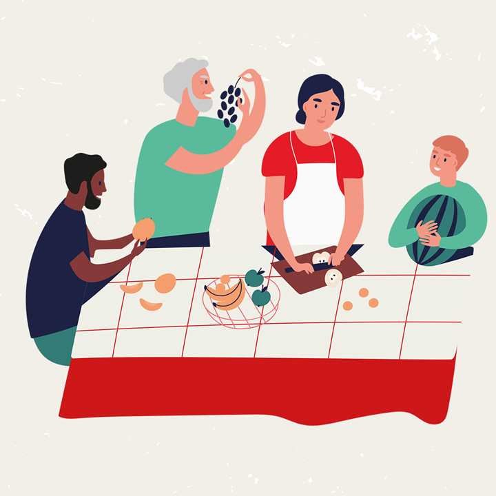 Cooking together illustration