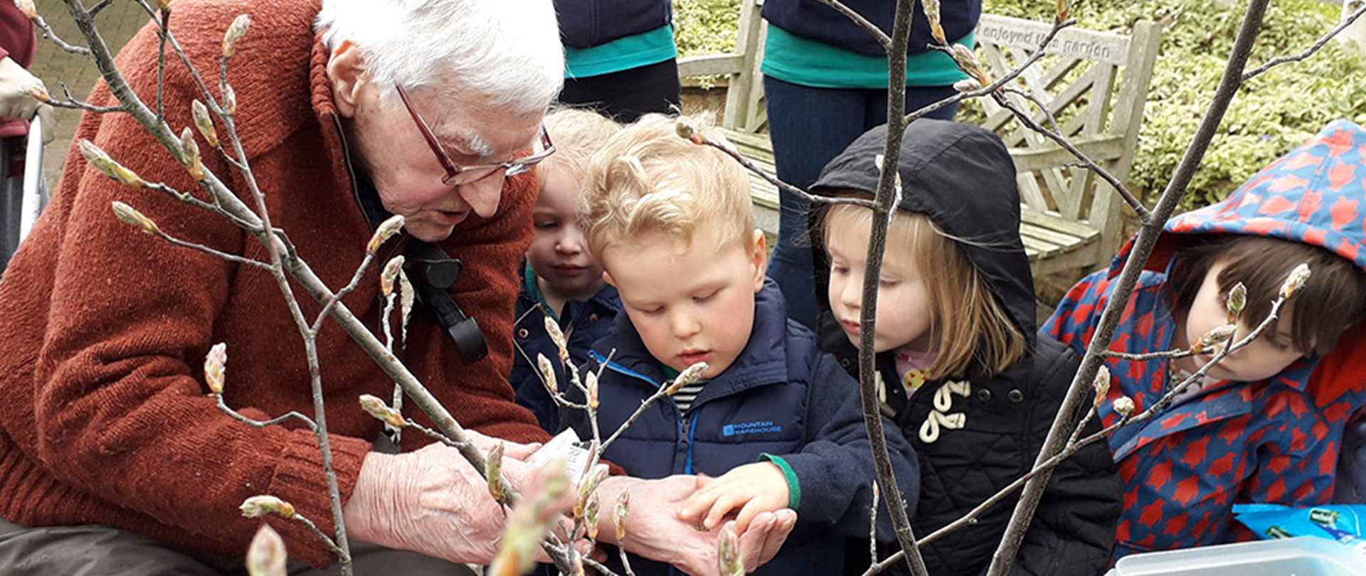 An older man and early years children gardening together